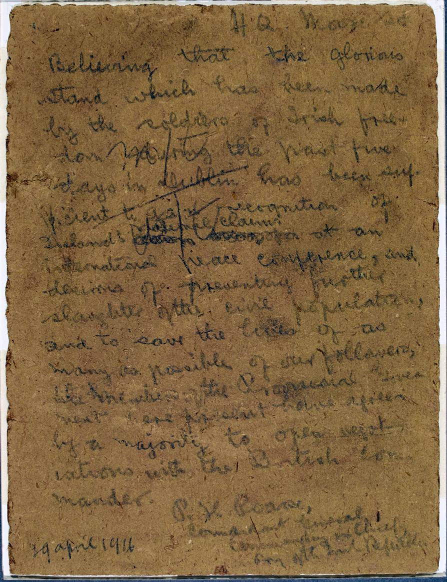Object: Pearse Surrender Order