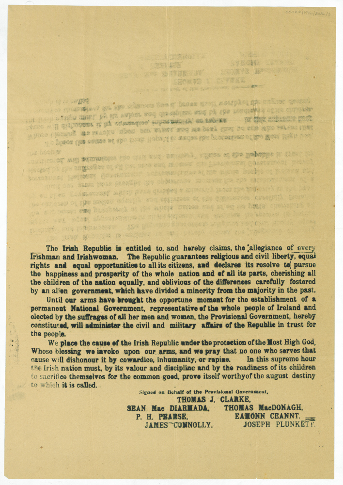 Object: Half-copy of the 1916 Proclamation