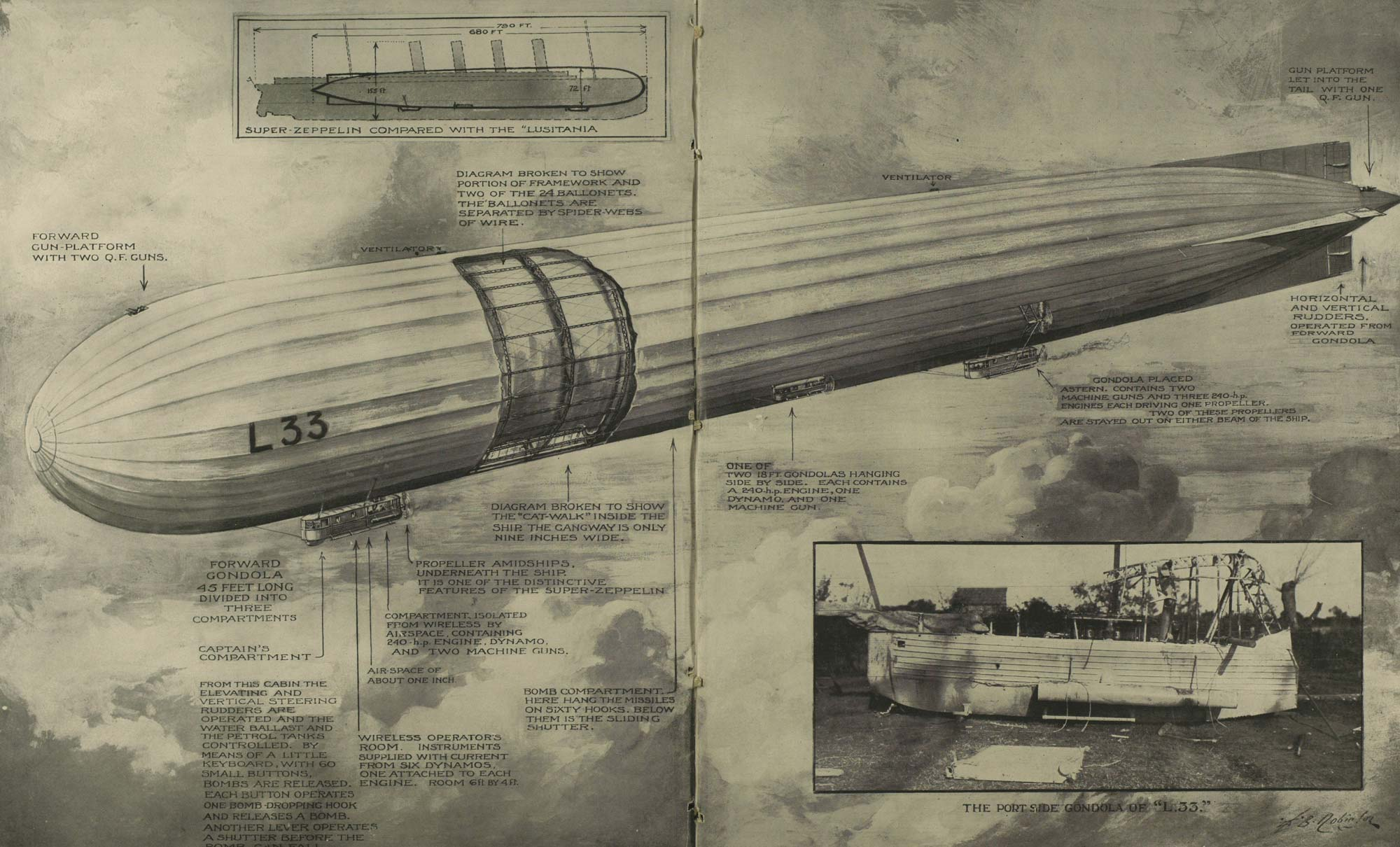 Image of a German Zeppelin from the Illustrated London News that appeared with the caption 'Much mechanism for no military result'