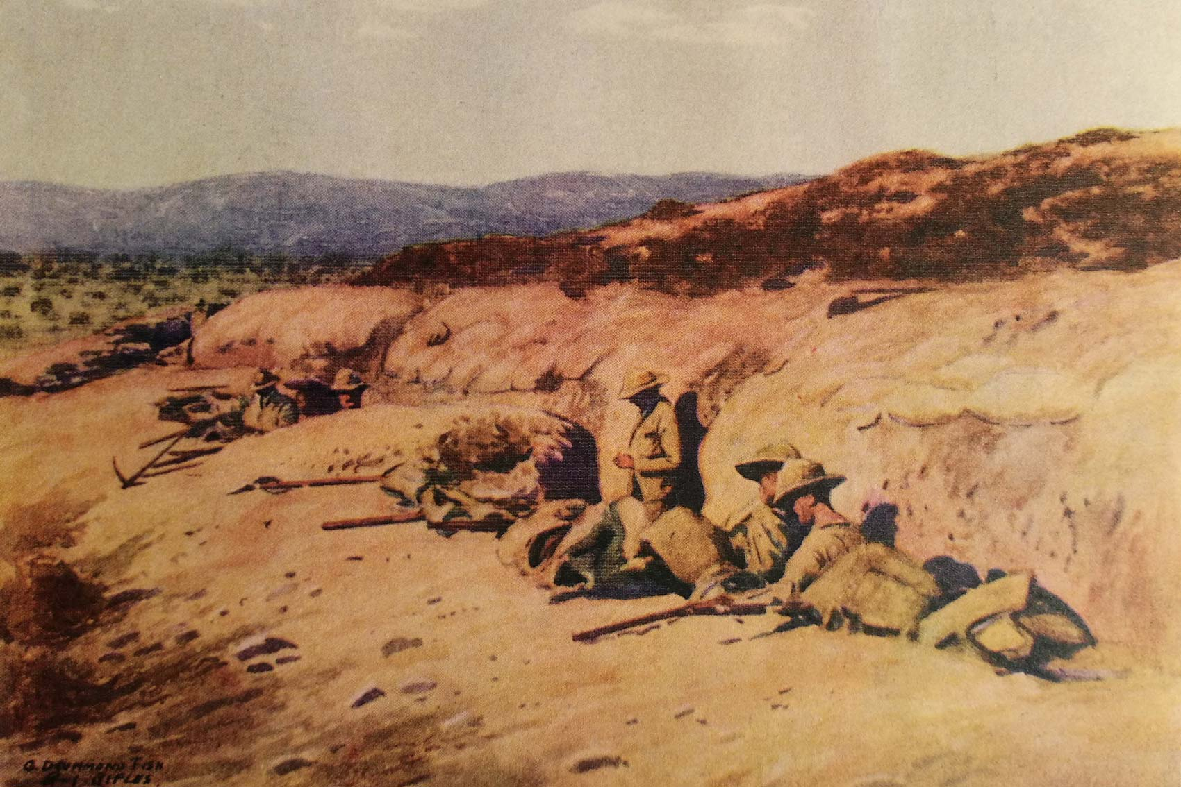 One of the illustrations from 'The Pals at Suvla Bay'. A painting by Lt Drummond Fish of members of 'D' Company, the Pals battalion of the Royal Dublin Fusiliers, in trenches at Chocolate Hill