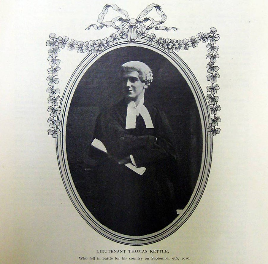 Front page memorial to Professor Tom Kettle on his death in September 1916.