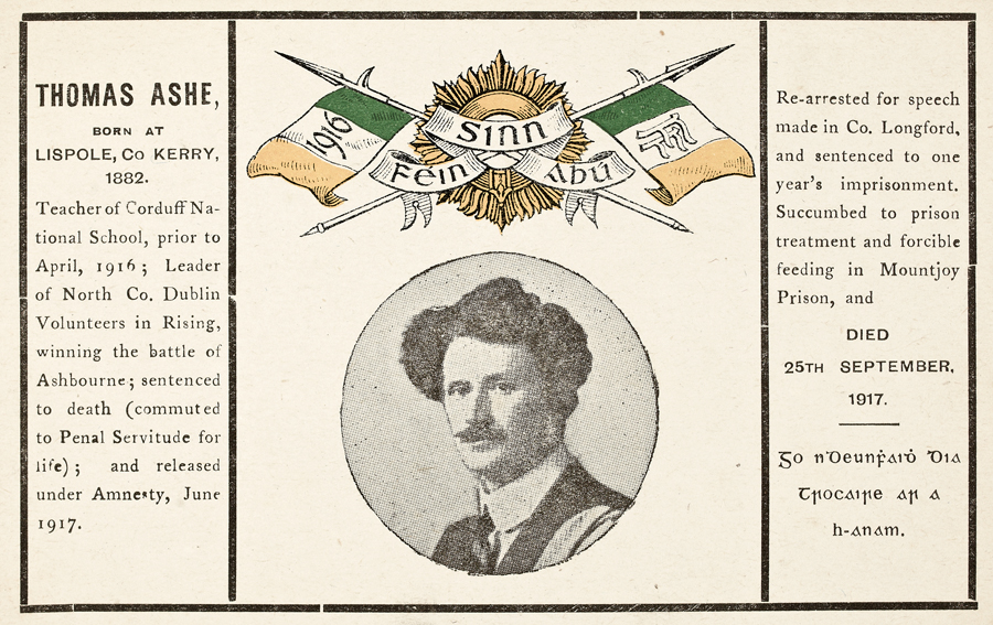 A memorial postcard printed for the death of Thomas Ashe