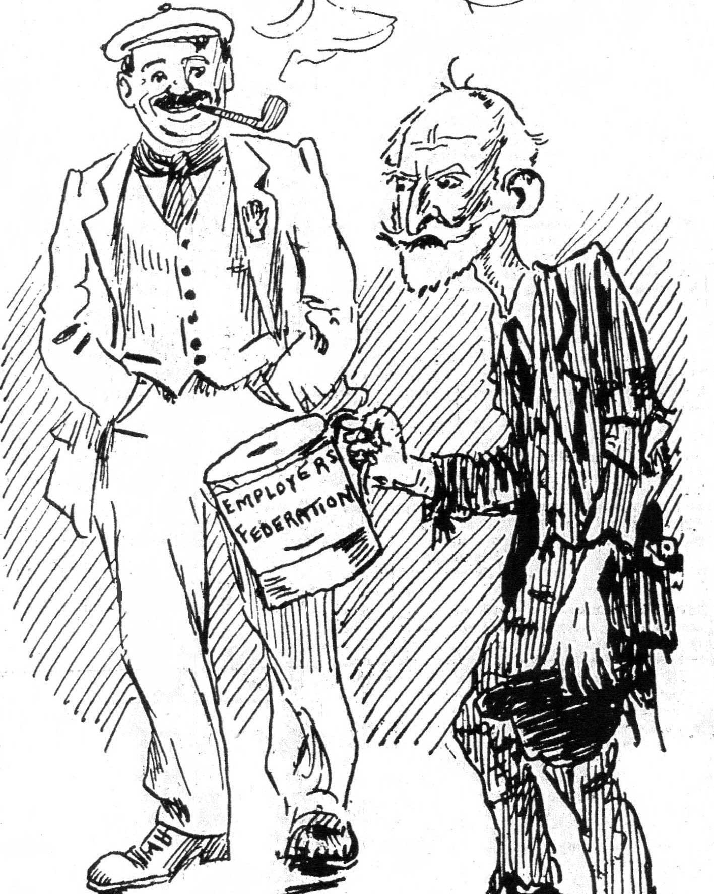 An Ernest Kavanagh cartoon depicting a cheery trade-unionist facing a rather dishevelled William Martin Murphy