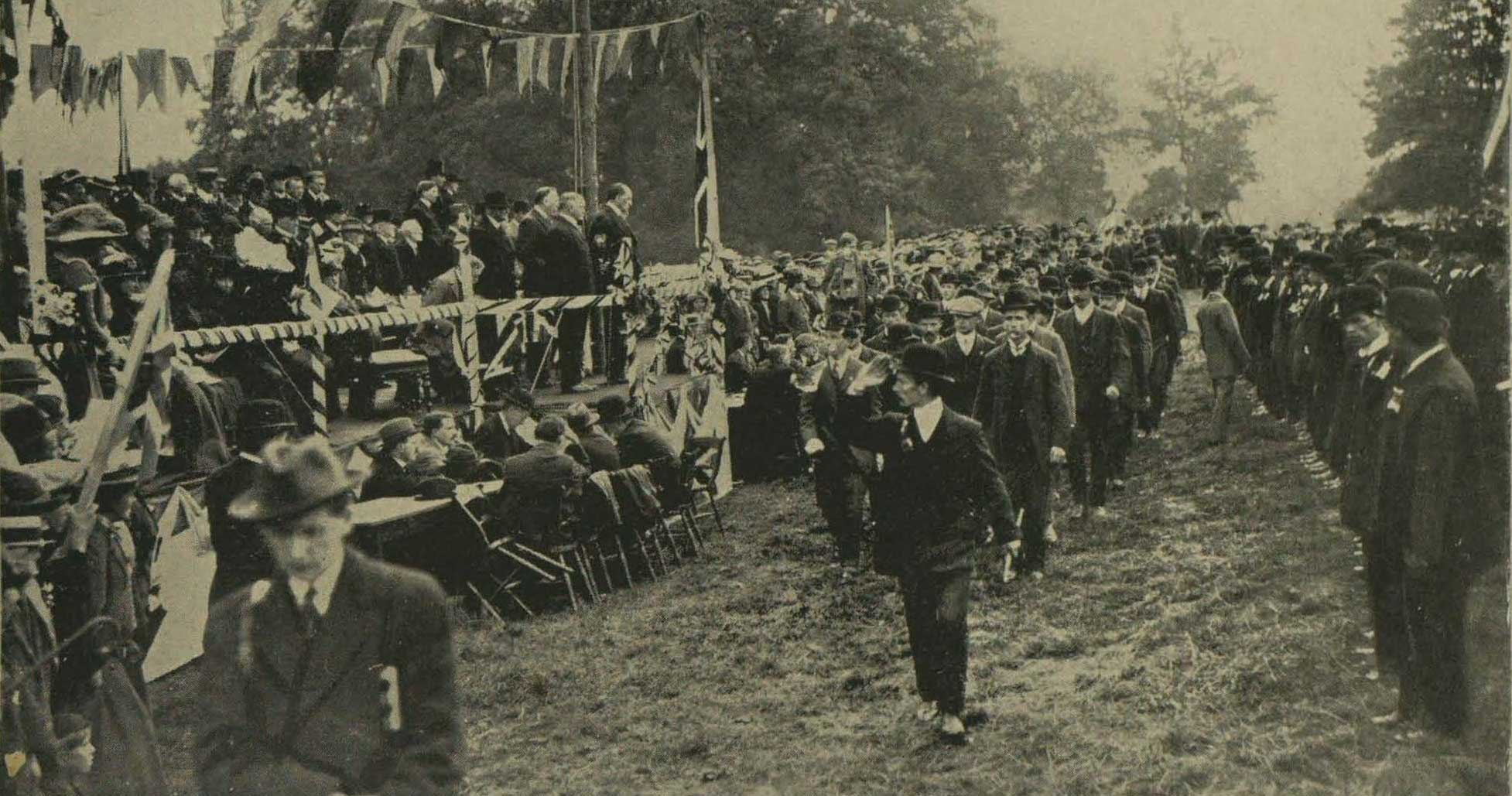 Carson reviews Ulster Volunteers in Newry earlier in his current tour of Ulster.