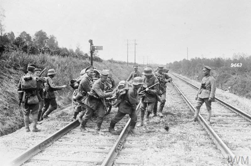 German troops crossing a railway line at Courlandon, near Fismes, May 1918