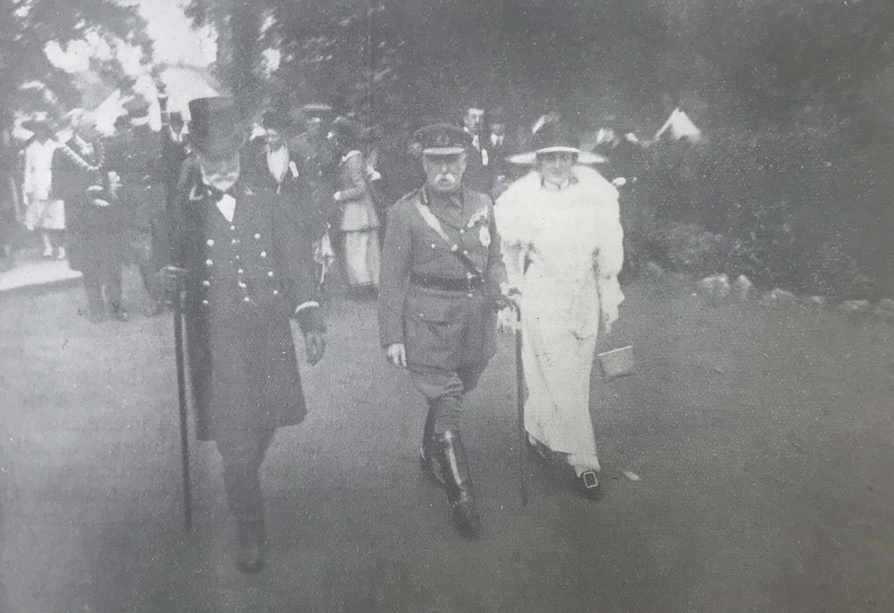Lord French (centre) makes a tour of inspection through the Botanic Gardens in Belfast, where the Red Cross Fête is being held