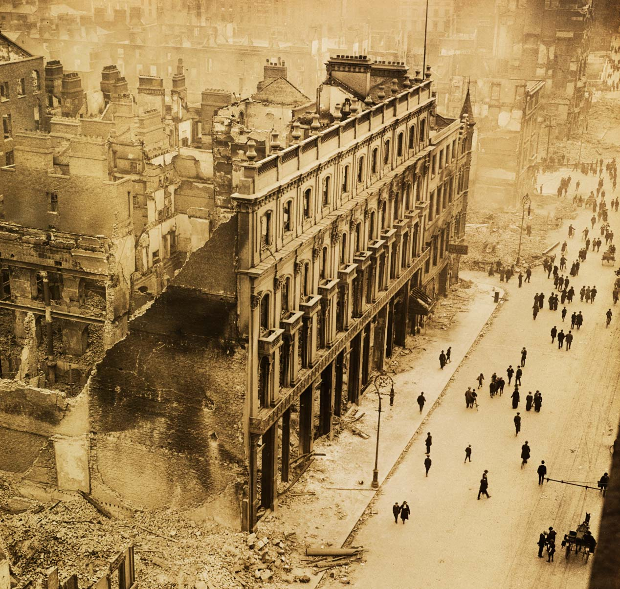Dublin in ruins after the Easter Rising in 1916