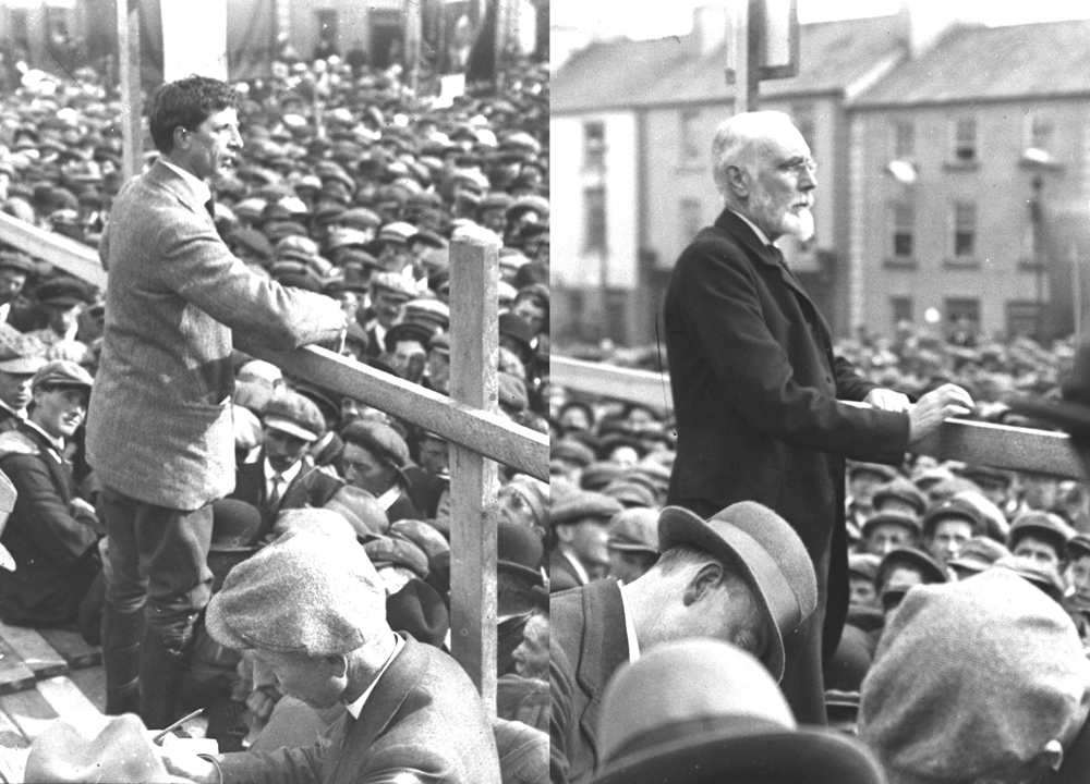 A brief show of unity between the nationalist parties - (left) Sinn Féin leader Eamon de Valera and (right) Irish Party leader John Dillon speaking at the anti-conscription rally in Ballaghderreen in May 1918.