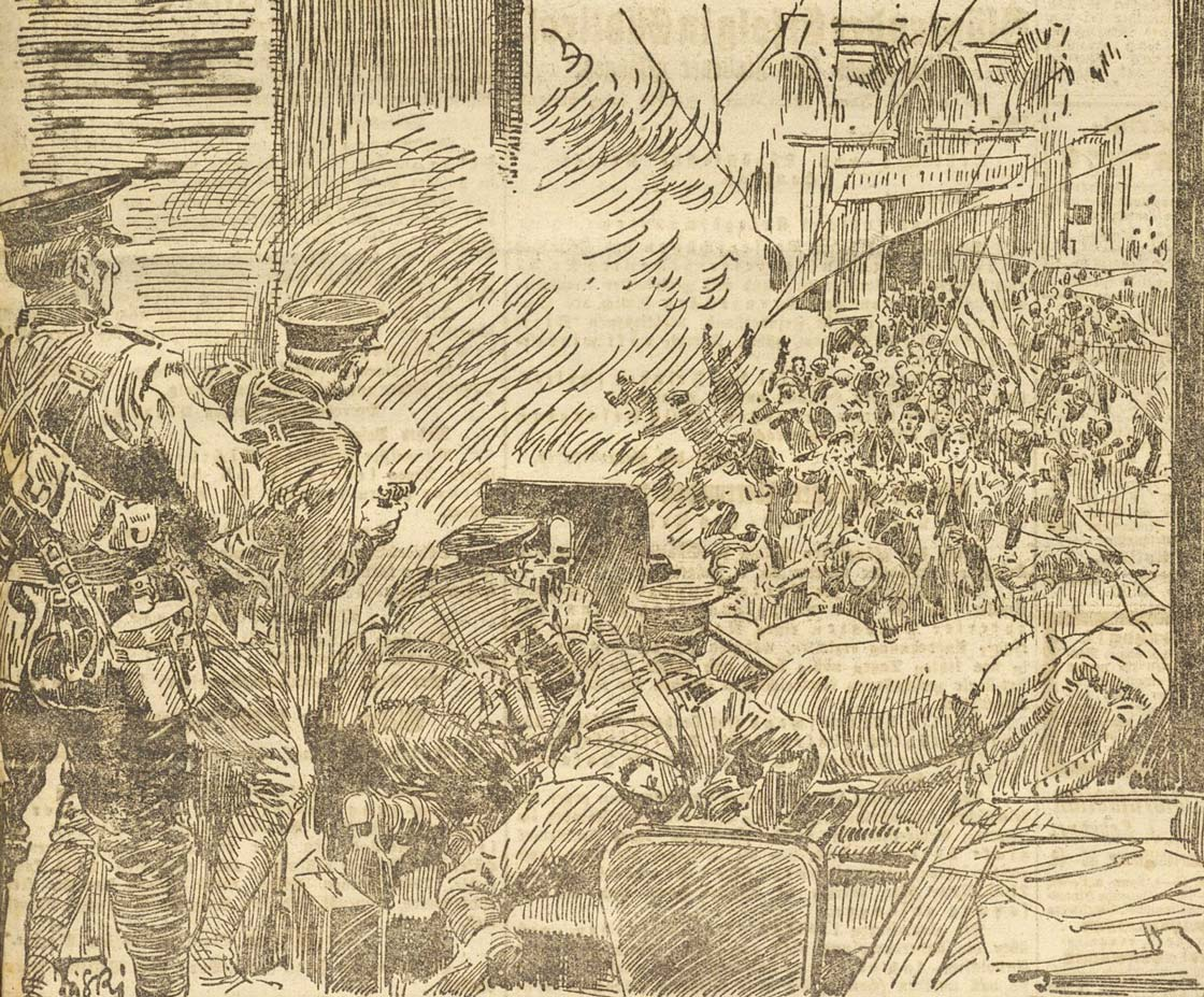 This is not the first instance of clashes on the streets between soldiers and Sinn Féiners. During the summer of 1918, riots erupted in Cork City after a camogie match. This image, from Austrian newspaper, 'Illusstrierte Kronen Zeitung' depicts those scenes