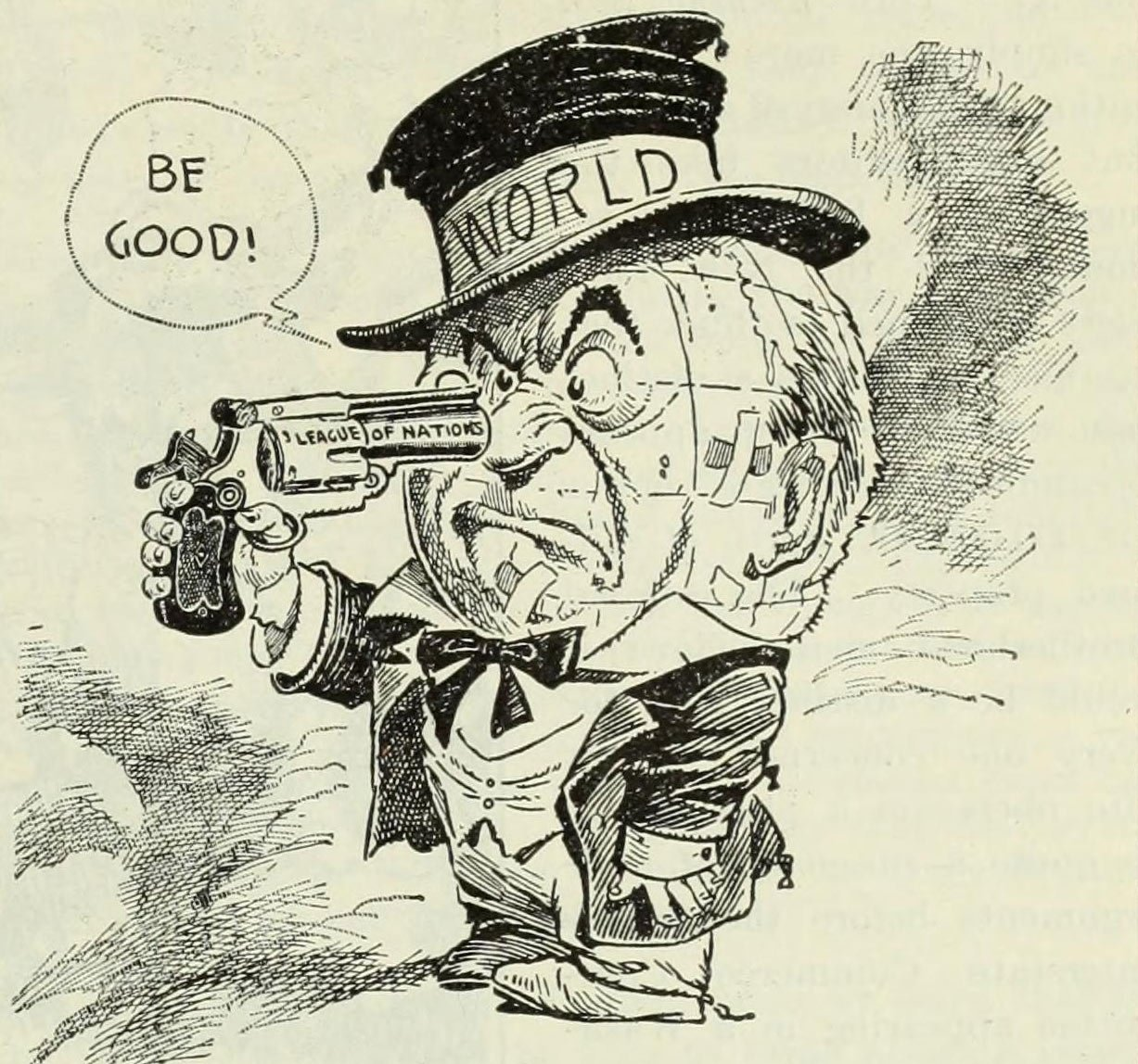 'Says he to himself': a cartoon by Orr, originally published in the Chicago Tribune on, sceptical of the idea of the League of Nations