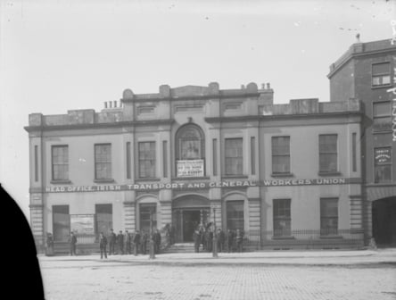 The headquarters of the ITGWU where James Connolly called for the formation of the Irish Citizen Army. The banner above the door reads:  'Working stealing Begging, there are only three ways of living if so read the Irish Worker, the only labour paper in Ireland'.