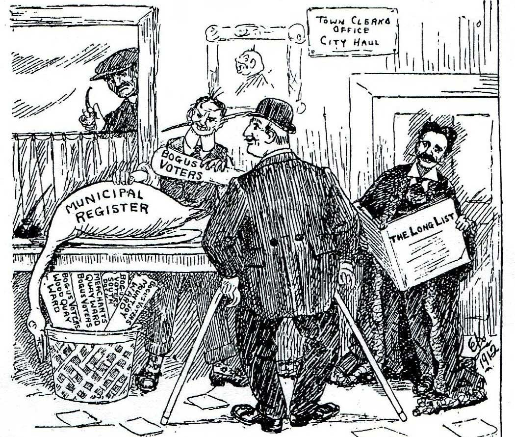 Ernest Kavanagh cartoon, published in The Irish Worker, accusing the opponents of Labour in the city of creating bogus voters in order to ensure victory in the local elections.