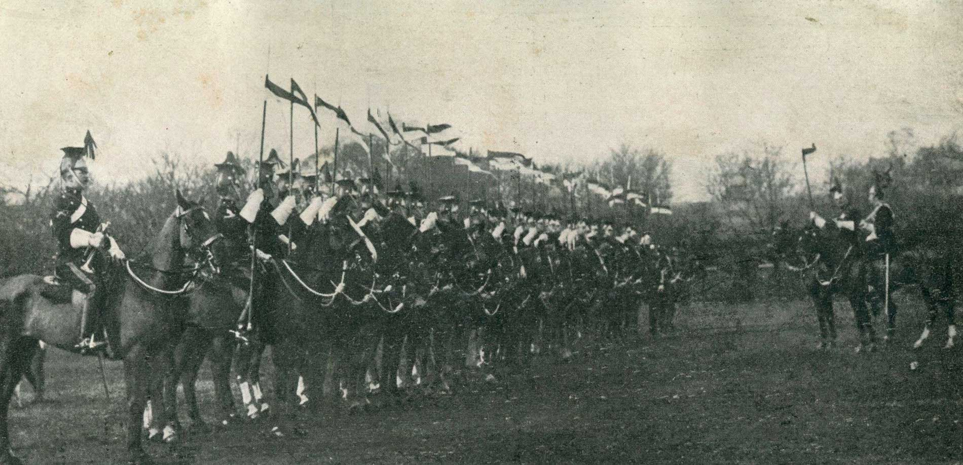 A troop of the 5th Royal Irish Lancers, one of the regiments of the 3rd Cavalry Brigade, which Brigadier-General Gough commands.
