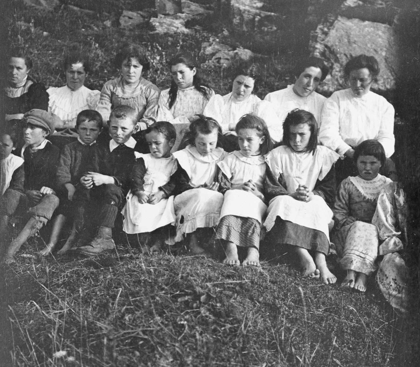 Schoolchildren with their teachers in the west of Ireland