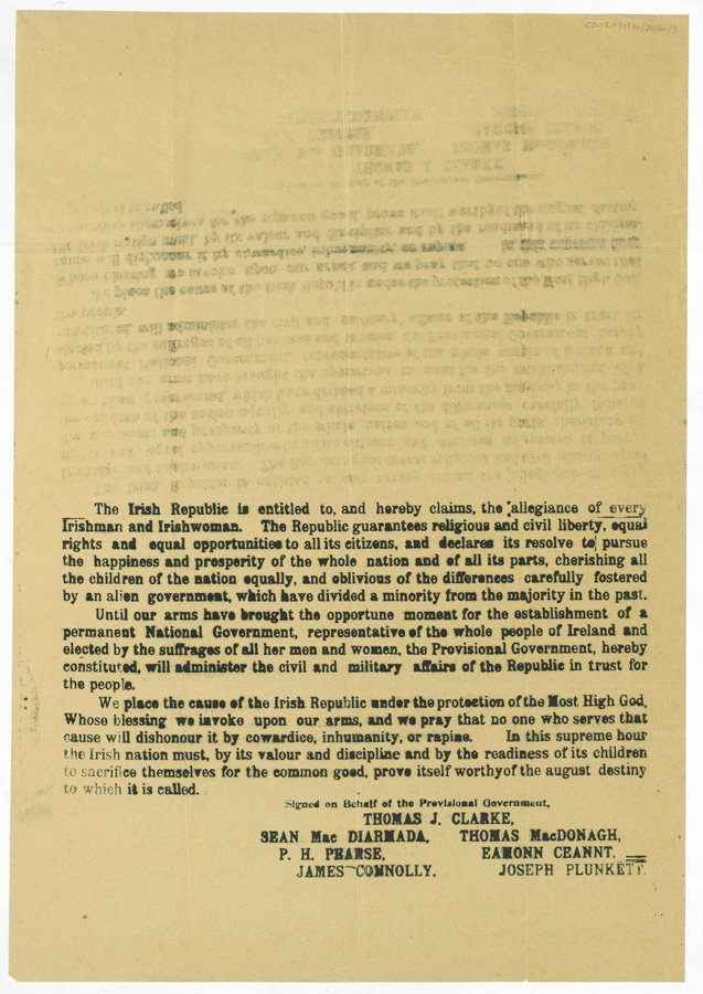 Half-copy of the 1916 Proclamation