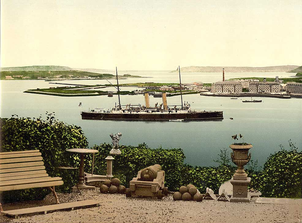 A view of Queenstown harbour from the shore ca. 1900. The decision of the Cunard company to end its stop-over here has led to calls for a new port on the western seaboard