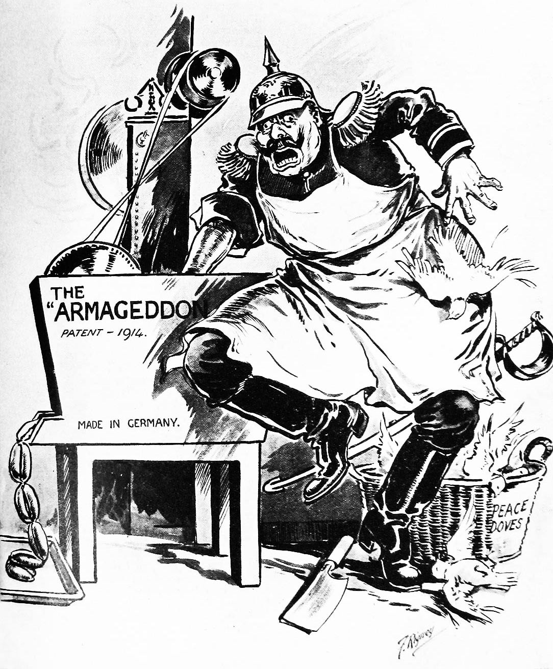 This cartoon from Irish Life showing derision for the Kaiser's proposals. It depicts the war as an 'Armageddon' machine of his own design in which he is being dragged.