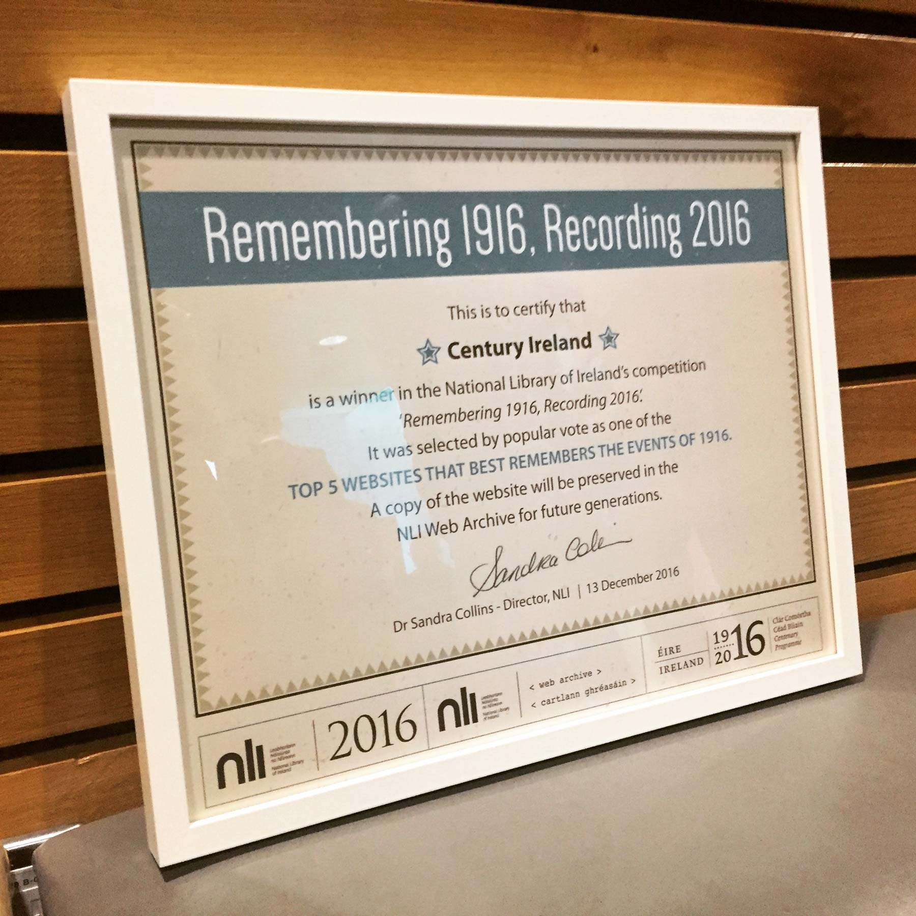 Century Ireland honoured for 'Remembering 1916'