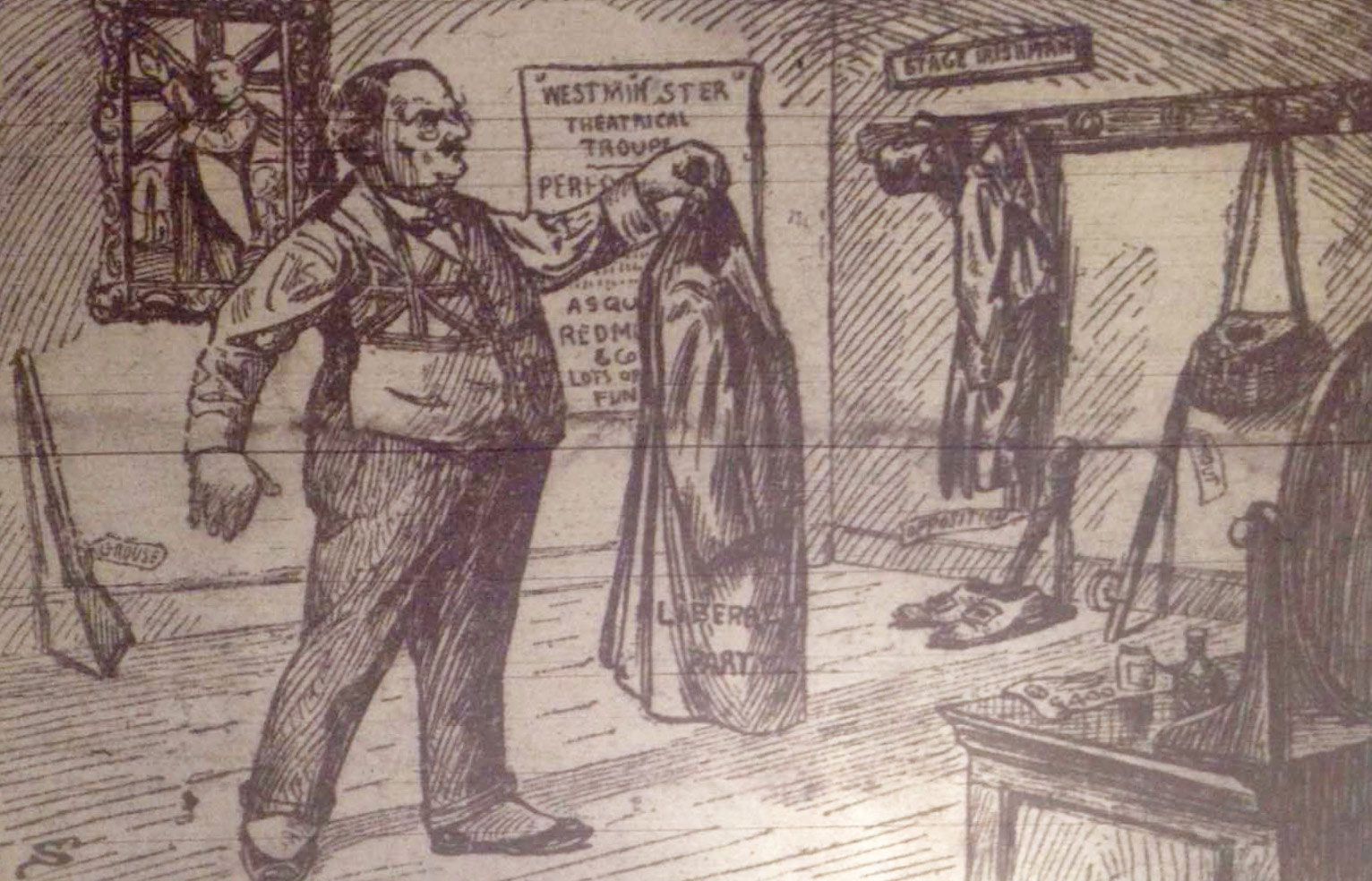 The more advanced nationalist papers have been critical of the Irish Party for some time. This cartoon from 'The Irish Nation' paints Redmond as a Liberal party stooge, referring to him as a 'Stage Irishman'
