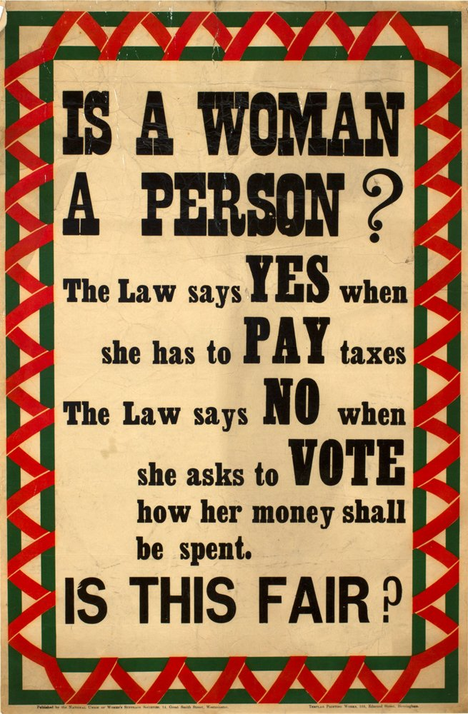 A poster used in the women's suffrage campaign between 1911 and 1917