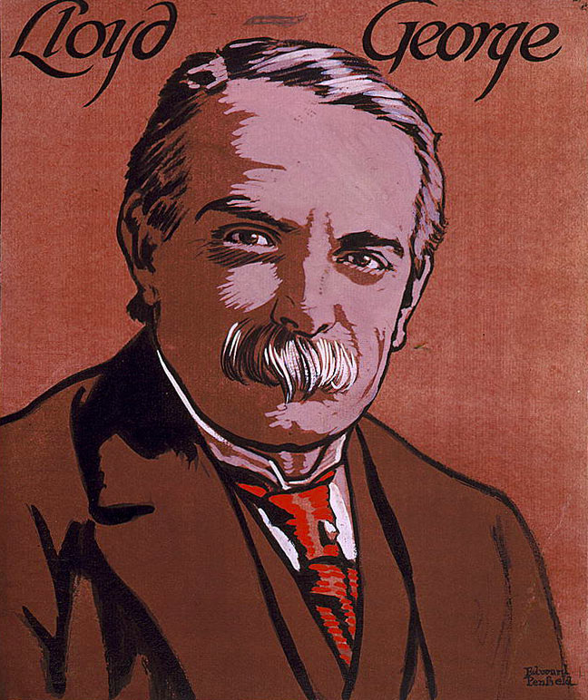 Colour sketch of David Lloyd George, British Secretary of State for War, by Edward Penfield c.1915.