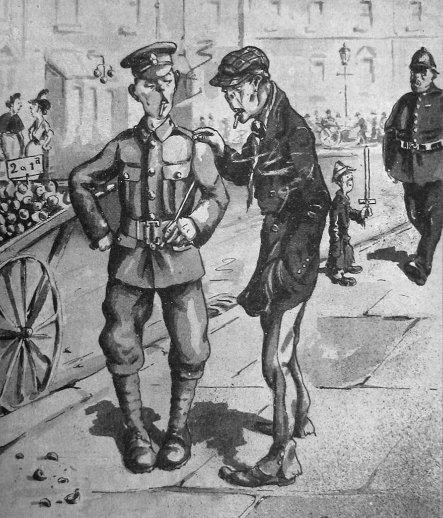 'The Inniskillings in 1920(?)' Cartoon of an Englishman in an Inniskillings uniform in 1920, depicting how the Irish regiments will be composed of English, Scotch and Welsh conscripts if the rate of recruiting in Ireland does not increase.