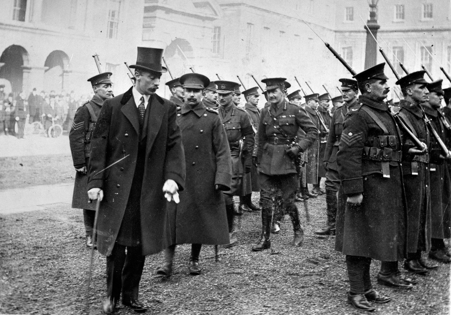Ivor Churchill Guest, 1st Viscount Wimborne, with troops in Dublin in the aftermath the Rising. He has resigned his post as Viceroy in Ireland citing official blunders in the handling of the situation.