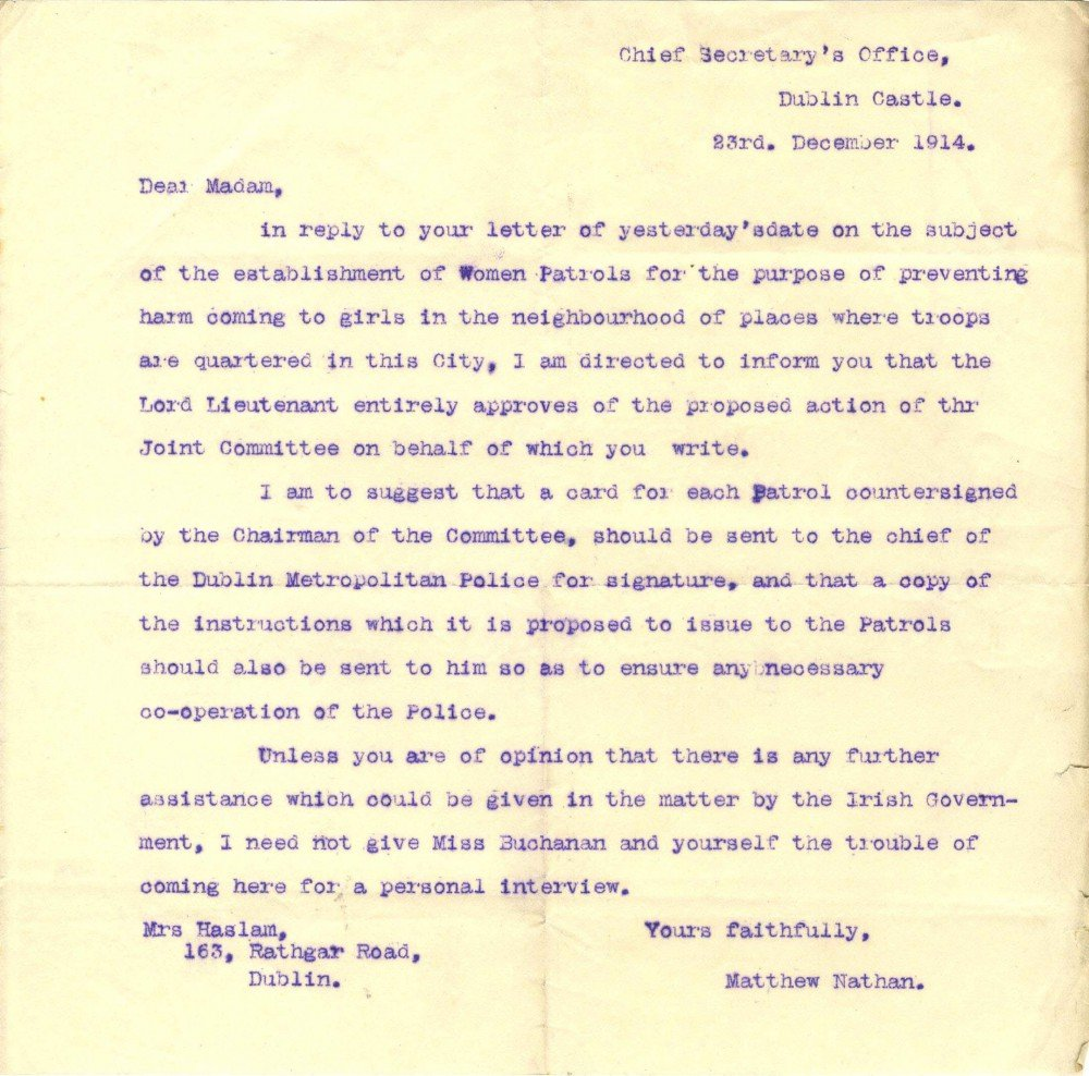 allegations of drunkenness against iers wives denied left a letter from the chief secretary s office to anna haslam founder of the dublin women s suffrage association offering support to the setting up of