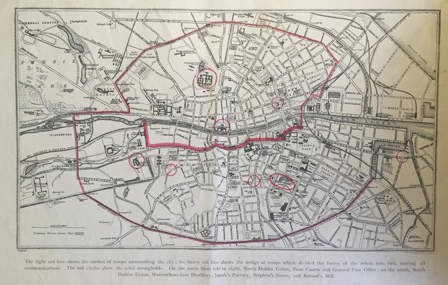 City Map Of Dublin Ireland.Sites Of 1916 Century Ireland